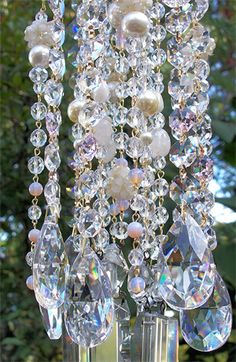 Pink Cream Antique Crystal Wind Chime