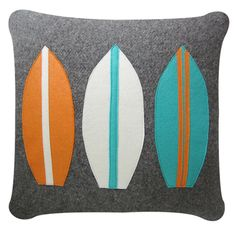 Limited Vintage surfboard cushion, grey white, teal and orange.