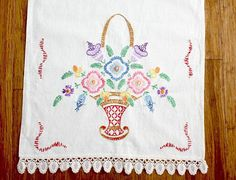 Vintage Embroidered Table Runner / Dresser Scarf  Flowers / Woven Lace Edge
