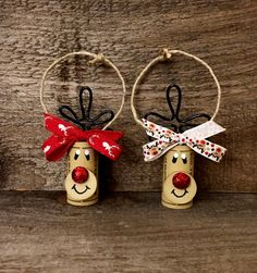 Set of 4 Wine Cork Reindeer Ornaments Rudolph Ornaments Wine Cork Ornaments, Diy Christmas Ornaments, Christmas Decorations, Reindeer Ornaments, Snowmen, Wine Craft, Wine Cork Crafts, Christmas Wine, Christmas Gift Tags