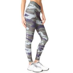 CHRLDR Physical Leggings (92 AUD) ❤ liked on Polyvore featuring pants, leggings, camo, elastic waistband pants, camo pants, camouflage jerseys, camo print leggings and white leggings