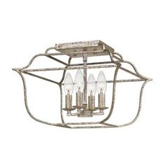 Quoizel Gallery French Countryside Semi Flush Ceiling Lighting, 240 Watts, Century Silver Leaf x Silver Leaf Gallery Semi-Flush Mount Vanity Lighting, Ceiling Fixtures, Light, Lantern Lights, Geometric Chandelier, Lights, Silver Leaf, Chandelier, Ceiling Lights