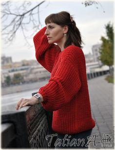 """Купить Вязаный свитшот ручной работы """"Стихия огня"""" - ярко-красный, красный, красный свитер"""