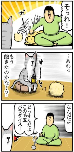 猫に毛玉ボールやったら思いのほかハシャいだ : まめきちまめこニートの日常 Manga, Comics, Blog, Manga Anime, Manga Comics, Blogging, Cartoons, Comic, Comics And Cartoons