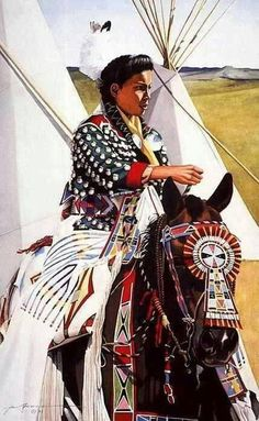 Native American Indian On Horse - Painting Unknown Artist.