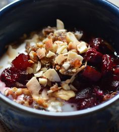 Breakfast Parfaits with Cherry-Apple Compote and Grainless Granola
