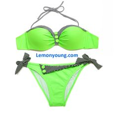 8ead67e06970f 2016 Fresh Neon Green Navy Style Push-up Bandeau Bikini Set with Black  Stripe and Button Decorations