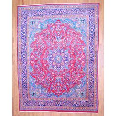 Persian Hand-knotted Mashad Red/ Navy Wool Rug (9'9 x 12'10) - Overstock™ Shopping - Great Deals on 7x9 - 10x14 Rugs