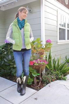 fall outfit - striped top, puffy vest and wellies fall outfits Vest Outfits, Cute Outfits, Fall Winter Outfits, Winter Fashion, Puffy Vest, Green Vest, Winter Wardrobe, What I Wore, Personal Style