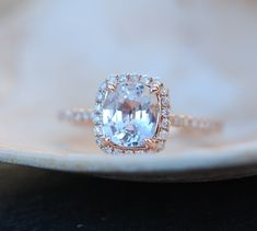White sapphire engagement ring 14k rose gold by EidelPrecious