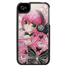 Beautiful girl with butterflies iPhone 4 case