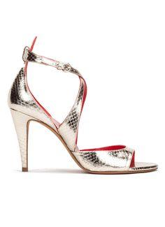 Sandalia de fiesta metalizada de tacón alto color platino - tienda de zapatos Pura López · PURA LOPEZ