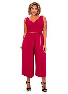 Fashion Bug Women's Plus Size Deep V-Neck Gold Chain Gaucho Jumper www.fashionbug.us #plussize #fashionbug