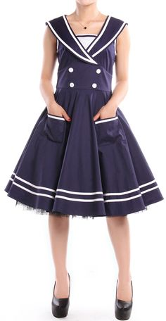 50s Rockabilly Sailor Swing Dress by Amber Middaugh -One time Prototype Auction! --This Dress will be custom made in the winning bidder's size. Auction Ends Sep 18 2014 http://www.chicstar.com/storefront/protoDetail.aspx?idProto=1669