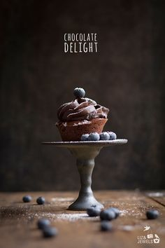 Chocolate Cupcake with Blueberries www.lizandjewels.com