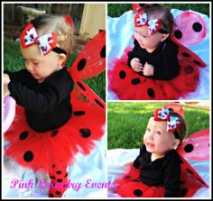 Lady Bug Baby .. Toddler ... Tutu Outfit includes Tutu, Matching Headband and Lady Bug Wings on Etsy, $30.00
