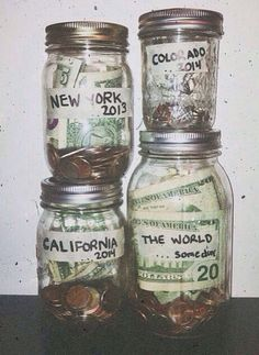 give my kid travel fund (money saved) with a plane ticket and a destination taped on the front of the jar