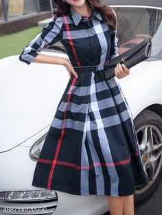 Button Down Collar Belt Checkered Skater Dresses - berrylook.com