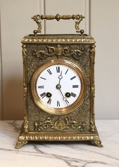 Large French Embossed Carriage Clock