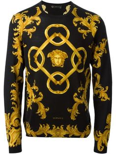 Versace baroque sweater, Black and gold wool and silk baroque sweater from Versace featuring a crew neck, long sleeves, a baroque pattern, a printed logo to the front and a ribbed hem and cuffs. Quirky Fashion, Timeless Fashion, Mens Fashion, Fashion Trends, Runway Fashion, Versace Fashion, Versace Men, Versace Shirts, Versace Hoodie