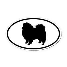 American Eskimo Dog Silhouette Oval Car Magnet