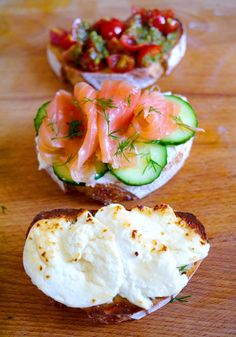 It's easy to stuck in a lunchtime rut. Personally I think you should ditch the sandwich and opt for an oh so Euro-chic bruschetta. Toasted sourdough piled high with delicious fresh flavours. Like mini, healthy, towering pizzas. These are three of my favorite, ridiculously easy combos. Grilled goats cheese & honey. Cream cheese, cucumber, salmon...  Read more