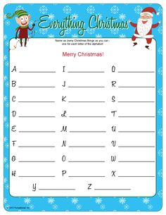 Everything Christmas From A to Z