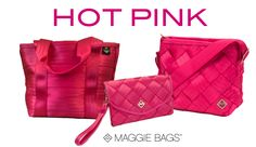 Hot Pink bags from #maggiebags. Get your hot on when it's cold outside! #hotpink #handbags #purses