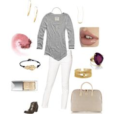 """""""Weekday Errands"""" by jilljones222 on Polyvore What I wore today/After Labor Day Chic--white toned down with neutrals and brown: perfect for early fall!  Jewelry by Chloe and Isabel: chloeandisabel.com/boutique/jilljones  ##ladypower #chloeandisabel #wearingwhiteafterlaborday"""