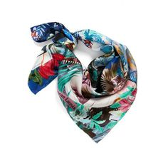 Women's Christian Lacroix Seasons Silk Square Scarf (345 AED) ❤ liked on Polyvore featuring accessories, scarves, silk scarves, square shawl, pure silk scarves, vintage scarves and christian lacroix scarves
