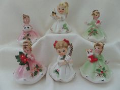 Josef Originals Christmas Girls and Angels Set/6 -- Pink, White and Green Dresses -- Collectible Figurines -- Christmas Figurines by OurVintageFavorites on Etsy https://www.etsy.com/listing/257664155/josef-originals-christmas-girls-and