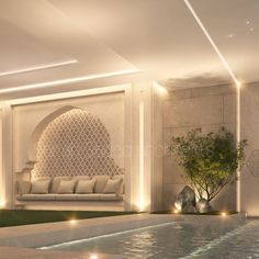 Pool seating private villa kuwait Sarah Sadeq architects