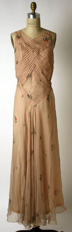 Evening Dress 1933, French, Made of silk | vintage 1930s dress | 30s evening gown with pintuck details