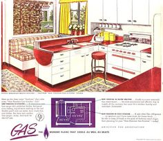 1940S KITCHEN DESIGN « KITCHEN DESIGNS red countertop and fold away counter space