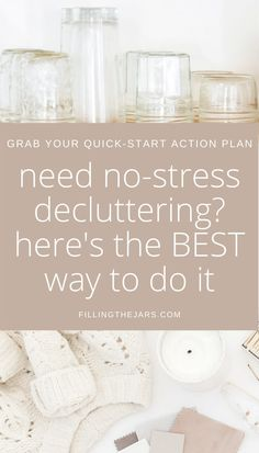 Clutter is so stressful! Lighten the load on your house and your mind with a slow declutter. Use these decluttering tips to start purging house clutter without overwhelm or making a bigger mess. Sign up for the free mini decluttering plan to help you get a quick and easy start today...
