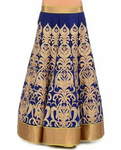 JADE BY MONICA & KARISHMA Midnight Blue Lehenga Set with Zari Embroidery, skirt detail.