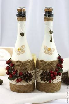 Wine Bottle Crafts – Make the Best Use of Your Wine Bottles – Drinks Paradise Glass Bottle Crafts, Wine Bottle Art, Diy Bottle, Christmas Wine Bottles, Wine Craft, Altered Bottles, Recycled Bottles, Bottle Painting, Bottles And Jars