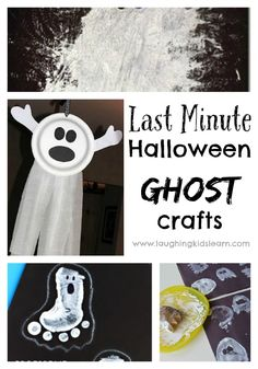 Last minute Halloween ghost crafts - Laughing Kids Learn Halloween Activities For Kids, Halloween Crafts For Kids, Halloween Ghosts, Creative Activities, Creative Play, Halloween Stuff, Halloween Decorations, Ghost Crafts, Spider Crafts