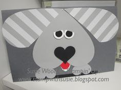 Stampin' Up!- I used lots of hearts here to create this cute little puppy for the boys Valentine's Day card!