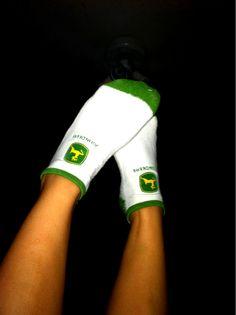 John Deere socks, awesome.