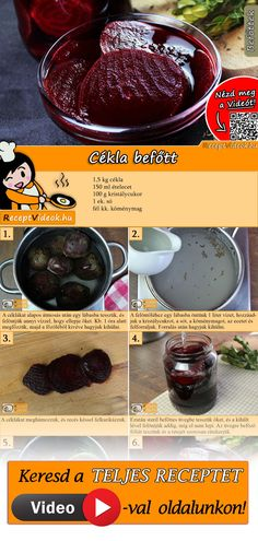 Cékla befőtt Hungarian Recipes, Bakery, Recipies, Food And Drink, Cooking Recipes, Pudding, Sweets, Cookies, Dinner