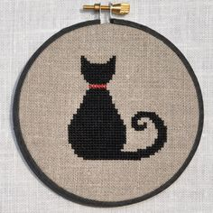 Cute Black Cat Cross Stitch Pattern, PDF