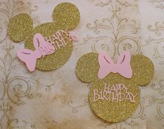 2 DIY Minnie Mouse Head Ears Gold Glitter and Pink Bow Happy