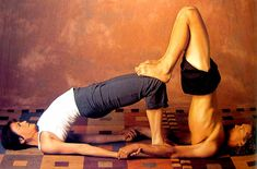We could do this...  Partner Yoga Pose: Double Bridge