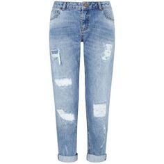 Miss Selfridge KITTY Vintage Boyfriend Jean found on Polyvore featuring jeans, pants, bottoms, pantalones, mid wash denim, torn boyfriend jeans, distressed denim jeans, ripped jeans, distressed jeans and boyfriend jeans