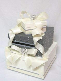 """Wedding Card Box with pearls and brooch as featured in """"201 Bride Magazine"""" Wishing Well, money holder, card box. $230.00, via Etsy."""