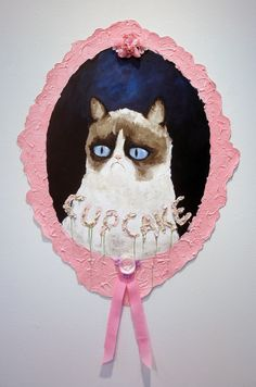 """Cupcake"" acrylic, flowers, cupcake holders, and sprinkles on canvas.  Jason Edward Davis"