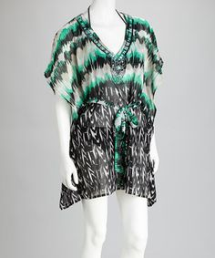 Take a look at this CLUB Z Aqua & Black Embellished Cover-Up on zulily today!