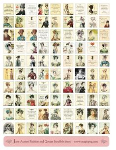 Jane Austen Quotes and Regency Fashion Digital Collage Scrabble Sheet