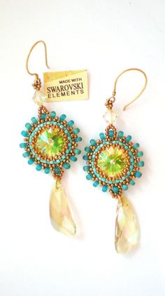 Elegant  handmade earrings with Swarovski crystals and gold filled.